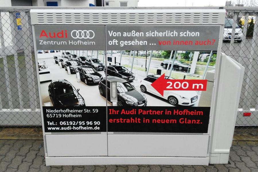 AUPRION-Stromkastenwerbung-Aussenwerbung-Audi-Hofheim-Nordring