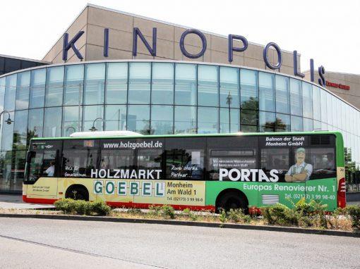 Buswerbung – Ganzgestaltung und Ganzgestaltung PLUS